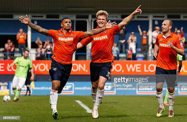 Andre Gray of Luton Town celebrates after scoring his side's first goal from the penalty spot during the Skrill Conference Premier match between...