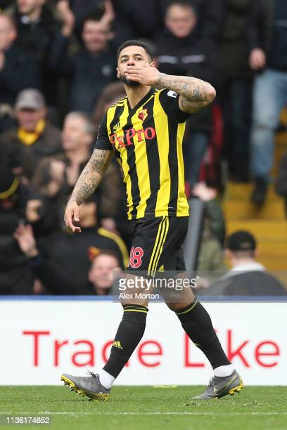 Andre Gray of Watford celebrates after scoring his team's second goal during the FA Cup Quarter Final match between Watford and Crystal Palace at...