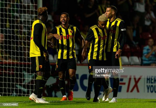 Andre Gray of Watford FC celebrates after scoring their first goal during the preseason friendly between Stevenage and Watford at The Lamex Stadium...