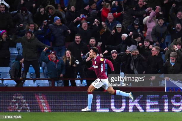 Andre Green of Aston Villa celebrates scoring to make it 33 during the Sky Bet Championship match between Aston Villa and Sheffield United at Villa...
