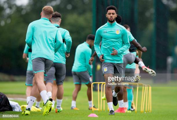 Andre Green of Aston Villa in action during a training session at the club's training ground at Bodymoor Heath on August 11 2017 in Birmingham England