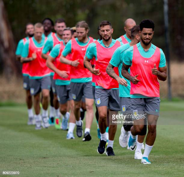 Andre Green of Aston Villa in action with team mates during a Aston Villa training session at the club's training camp at Faro on July 05 2017 in...