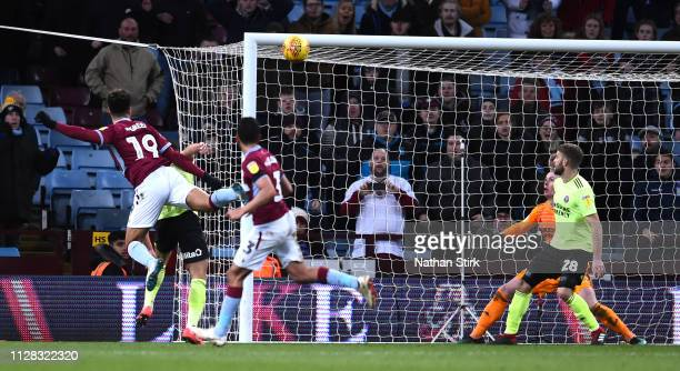 Andre Green of Aston Villa scores to make it 33 during the Sky Bet Championship match between Aston Villa and Sheffield United at Villa Park on...