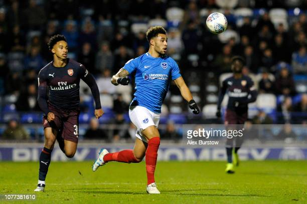 Andre Green of Portsmouth chases the ball during the Checkatrade Trophy match between Portsmouth and Arsenal U21 at Fratton Park on December 04 2018...
