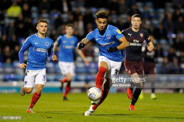 Andre Green of Portsmouth controls the ball during the Checkatrade Trophy match between Portsmouth and Arsenal U21 at Fratton Park on December 04...