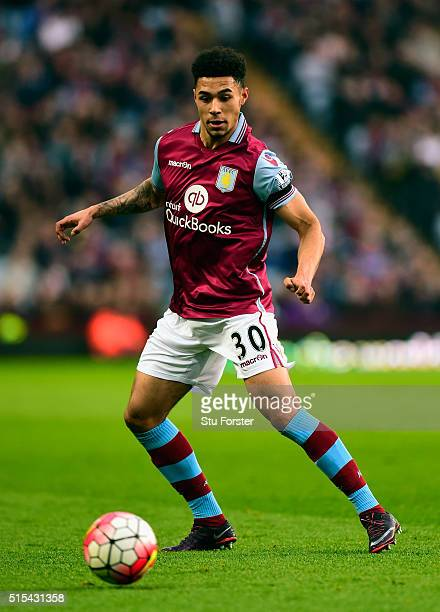 Andre Green of Villa in action during the Barclays Premier League match between Aston Villa and Tottenham Hotspur at Villa Park on March 13 2016 in...