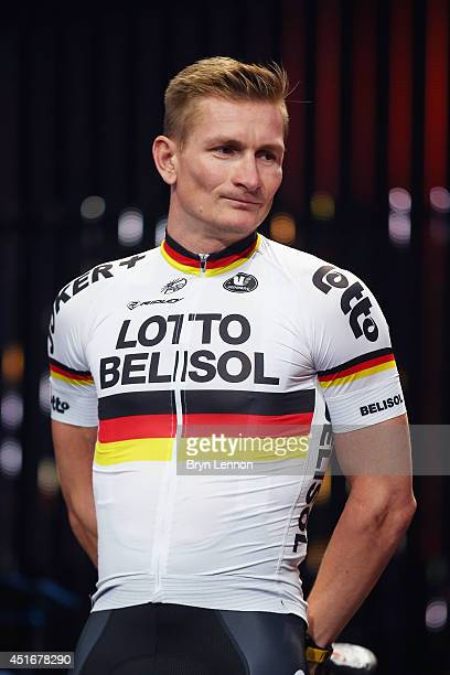 Andre Greipel of Germany and Lotto Belisol attends the 2014 Tour de France Team Presentation prior to the 2014 Le Tour de France Grand Depart on July...