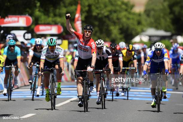 Andre Greipel of Germany and Lotto Soudal celebrates after winning stage one of the 2018 Tour Down Under on January 16, 2018 in Adelaide, Australia.
