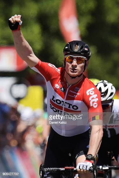 Andre Greipel of Germany and Lotto Soudal celebrates after winning stage one of the 2018 Tour Down Under on January 16 2018 in Adelaide Australia