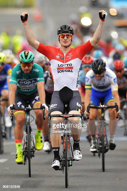 Andre Greipel of Germany and Lotto Soudal celebrates after winning stage six of the 2018 Tour Down Under on January 21 2018 in Adelaide Australia