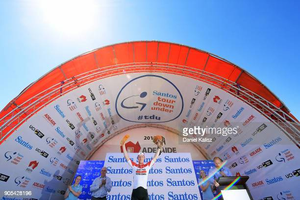 Andre Greipel of Germany and Lotto Soudal celebrates on the podium after winning stage one of the 2018 Tour Down Under on January 16, 2018 in...