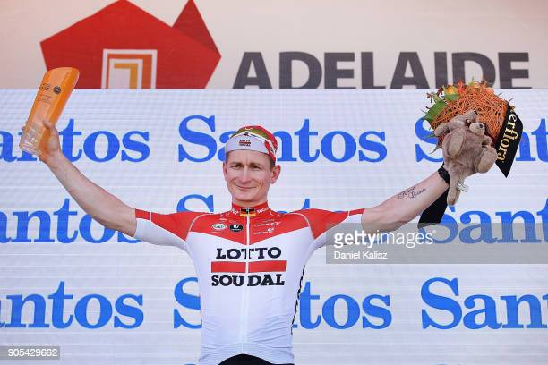 Andre Greipel of Germany and Lotto Soudal celebrates on the podium after winning stage one of the 2018 Tour Down Under on January 16 2018 in Adelaide...