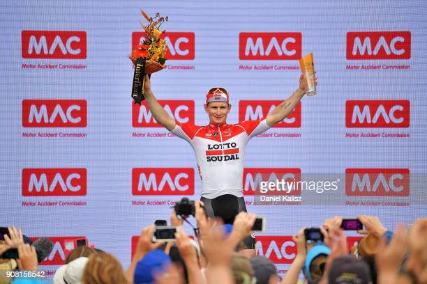 Andre Greipel of Germany and Lotto Soudal celebrates on the podium after winning stage six of the 2018 Tour Down Under on January 21 2018 in Adelaide...