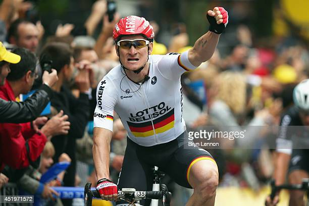 Andre Greipel of Germany and LottoBelisol celebrates winning stage six of the 2014 Tour de France a 194km stage between Arras and Reims on July 10...