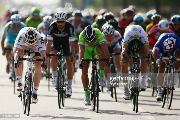 Andre Greipel of Germany and LottoBelisol crosses the finishline to win stage one of the Tour of Oman from As Suwayq Castle to Naseem Garden on...