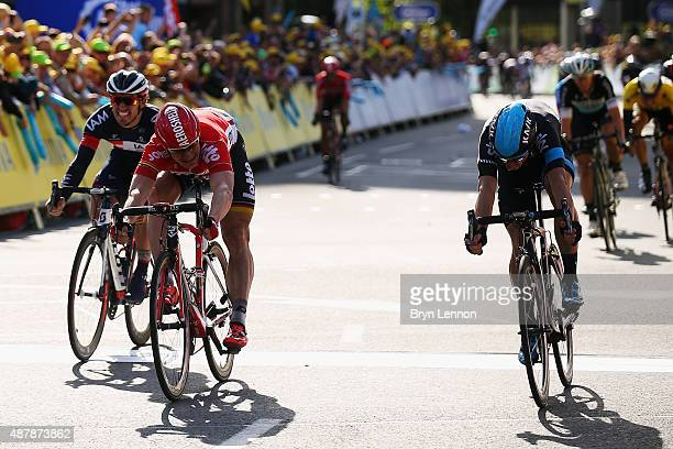 Andre Greipel of Germany and LottoSoudal beats Elia Viviani of Italy and Team SKY to the line to win stage seven of the 2015 Tour of Britain from...