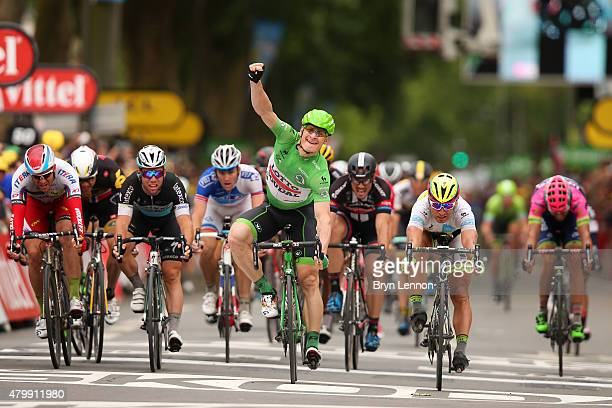 Andre Greipel of Germany and LottoSoudal celebrates his victory during stage five of the 2015 Tour de France a 1895km stage between Arras and Amiens...