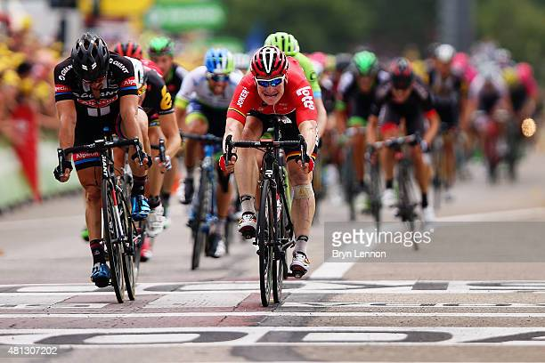 Andre Greipel of Germany and LottoSoudal crosses the finish line to win Stage 15 of the Tour de France a 183km rolling stage from Mende to Valence on...