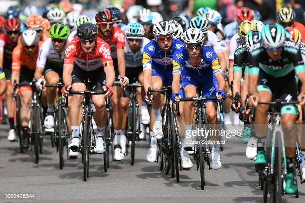 Andre Greipel of Germany and Team Lotto Soudal / Maximilian Schachmann of Germany and Team QuickStep Floors / James Knox of Great Britain and Team...