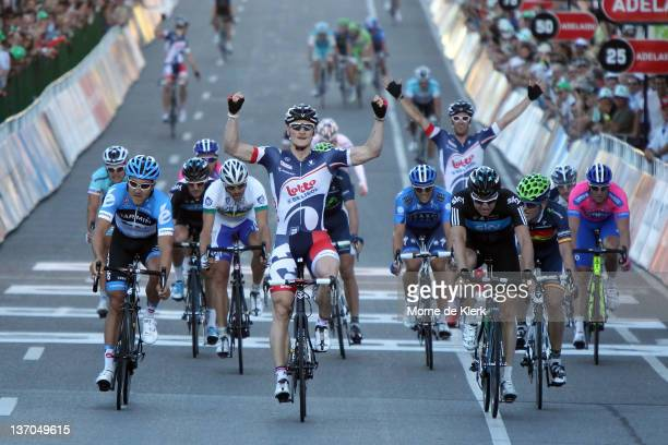 Andre Greipel of Germany and the Lotto - Belisol team celebrates as he crosses the finish line in first position during the 2012 Tour Down Under...