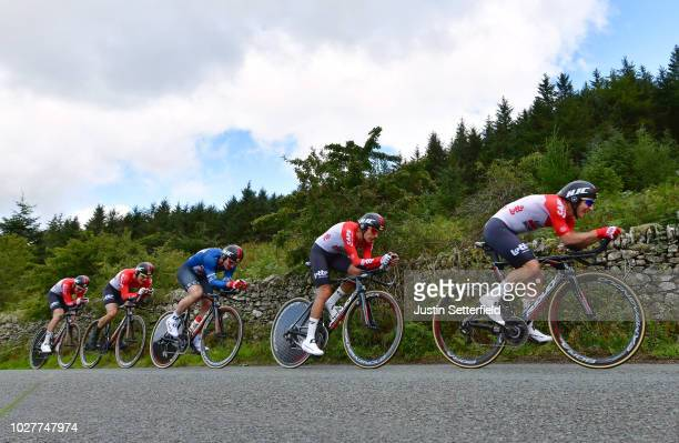 Andre Greipel of Germany Blue Points Jersey / Jasper De Buyst of Belgium / Moreno Hofland of The Netherlands / James Shaw of Great Britain / Jens...