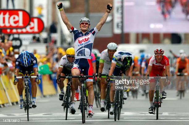 Andre Greipel of Germany riding for LottoBelisol celebrates as he wins stage five of the 2012 Tour de France from Rouen to SaintQuentin on July 5...