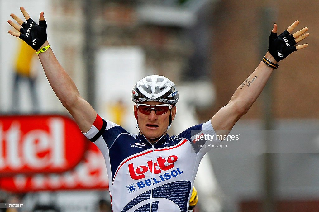 Andre Greipel of Germany riding for Lotto-Belisol celebrates as he wins stage five of the 2012 Tour de France from Rouen to Saint-Quentin on July 5, 2012 in Saint-Quentin-en-Yvelines, France.