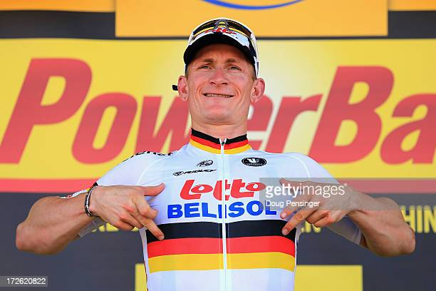 Andre Greipel of Germany riding for Lotto-Belisol celebrates on the podium after winning stage six of the 2013 Tour de France, a 176.5KM road stage...