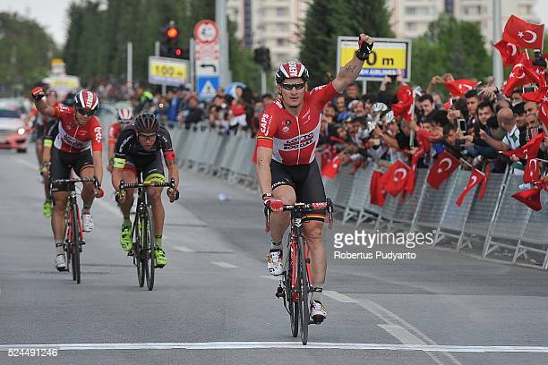 Andre Greipel of Lotto Soudal Belgium reacts after winning Stage 3 of the 2016 Tour of Turkey Aksaray to Konya on April 26 2016 in Aksaray Turkey