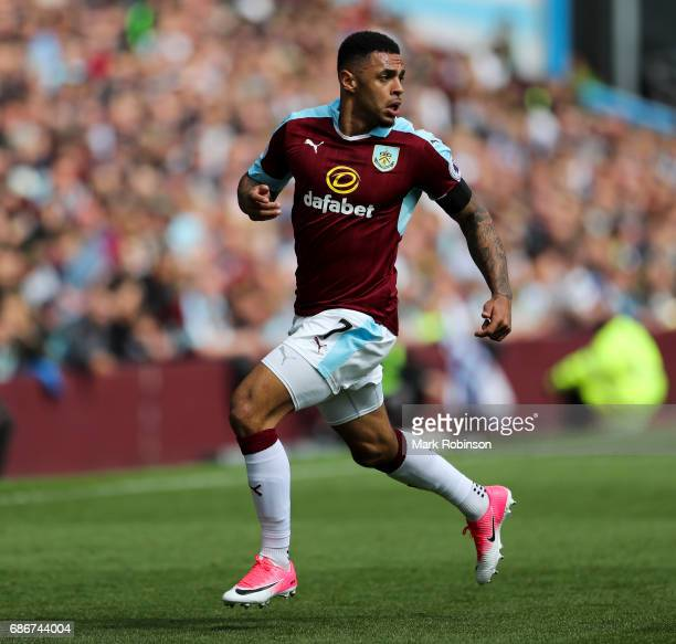 Andre Grey of Burnley during the Premier League match between Burnley and West Ham United at Turf Moor on May 21 2017 in Burnley England