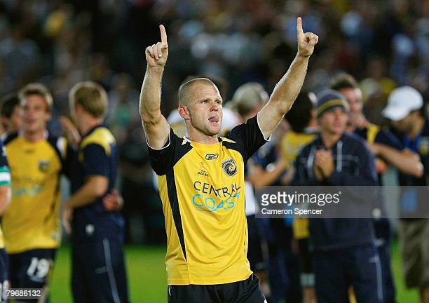 Andre Gumprecht of the Mariners celebrates winning in extra time during the ALeague Major Semi Final second leg match between the Central Coast...