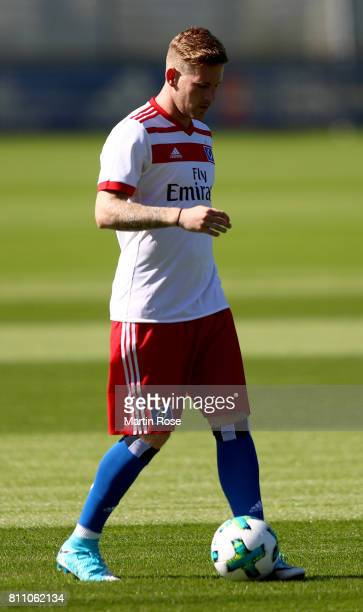 Andre Hahn controls the ball during a training session of Hamburger SV at Volksparkstadion on July 9 2017 in Hamburg Germany