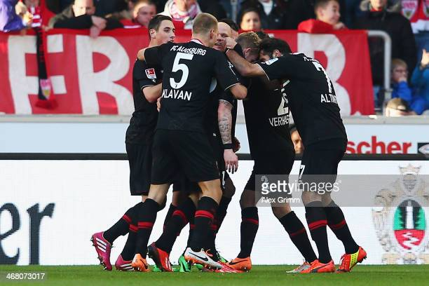 Andre Hahn of Augsburg celebrates his team's second goal with team mates during the Bundesliga match between VfB Stuttgart and FC Augsburg at...