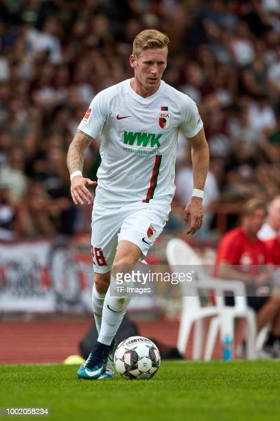 Andre Hahn of Augsburg controls the ball during the friendly match between FC Augsburg and Wuerzburger Kickers at Rosenau Stadion on July 14 2018 in...