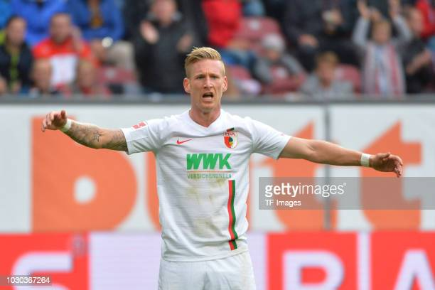 Andre Hahn of Augsburg gestures during the Bundesliga match between FC Augsburg and Borussia Moenchengladbach at WWKArena on September 1 2018 in...