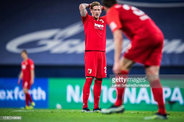 Andre Hahn of Augsburg looks disappointed during the Bundesliga match between FC Schalke 04 and FC Augsburg at Veltins-Arena on April 11, 2021 in...