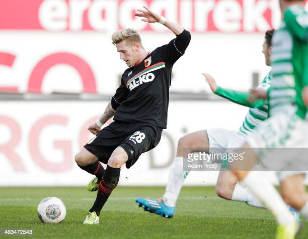 Andre Hahn of Augsburg scores a goal during the friendly match between Greuther Fuerth and FC Augsburg at Trolli-Arena on January 18, 2014 in Fuerth,...