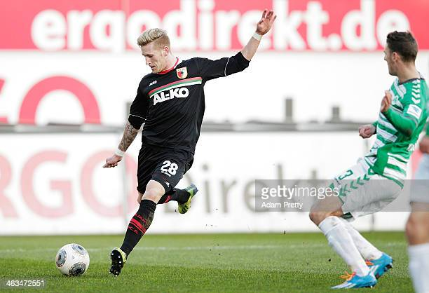 Andre Hahn of Augsburg scores a goal during the friendly match between Greuther Fuerth and FC Augsburg at TrolliArena on January 18 2014 in Fuerth...