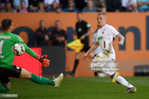 Andre Hahn of Augsburg scores his team's second goal during the Bundesliga match between FC Augsburg and VfB Stuttgart at WWKArena on April 20 2019...