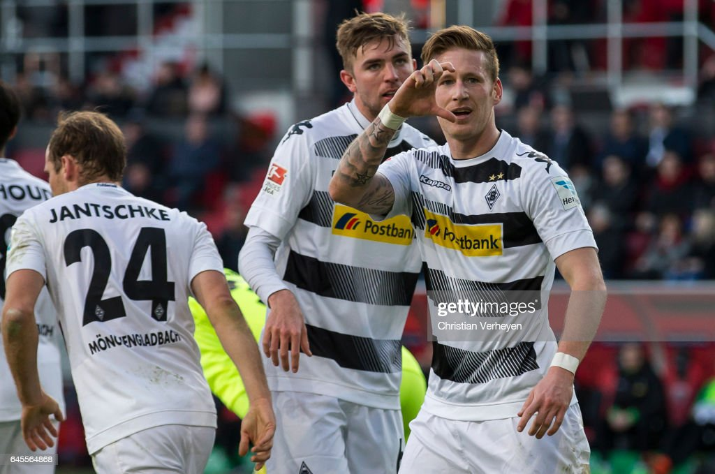 Andre Hahn of Borussia Moenchengladbach celebrate after he scores his teams second goal during the Bundesliga match between FC Ingolstadt 04 and Borussia Moenchengladbach at Audi Sportpark on February 26, 2017 in Ingolstadt, Germany.