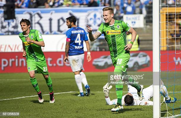Andre Hahn of Borussia Moenchengladbach celebrates the second goal for his team during the first bundesliga match between SV Darmstadt 98 and...