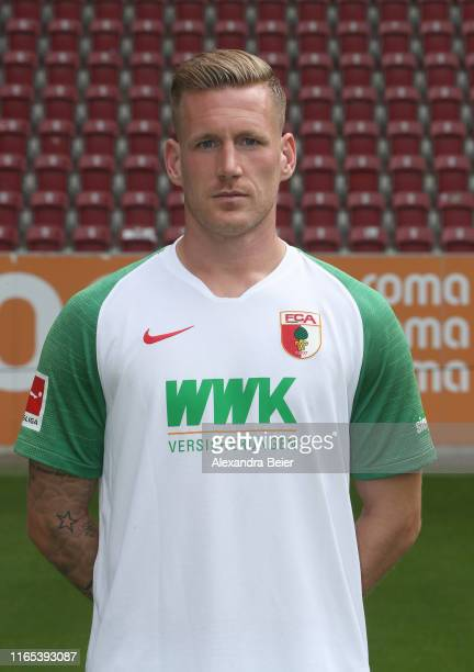 Andre Hahn of FC Augsburg poses during the team presentation at WWK-Arena on July 31, 2019 in Augsburg, Germany.
