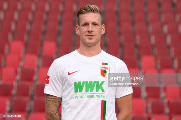 Andre Hahn of FC Augsburg poses during the team presentation at WWK Arena on August 9 2018 in Augsburg Germany