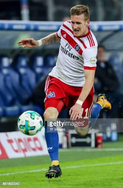 Andre Hahn of Hamburg controls the ball during the Bundesliga match between Hamburger SV and Borussia Dortmund at Volksparkstadion on September 20...