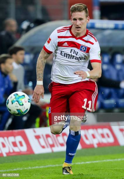 Andre Hahn of Hamburg controls the ball during the Bundesliga match between Hamburger SV and Borussia Dortmund at Volksparkstadion on September 20...