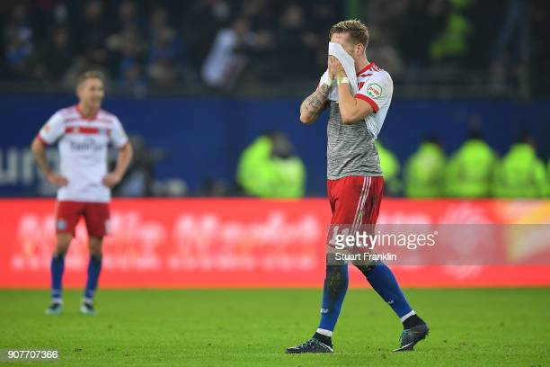 Andre Hahn of Hamburg covers his face during the Bundesliga match between Hamburger SV and 1 FC Koeln at Volksparkstadion on January 20 2018 in...
