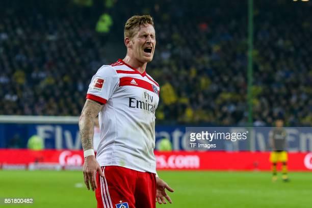 Andre Hahn of Hamburg gestures during the Bundesliga match between Hamburger SV and Borussia Dortmund at Volksparkstadion on September 20 2017 in...
