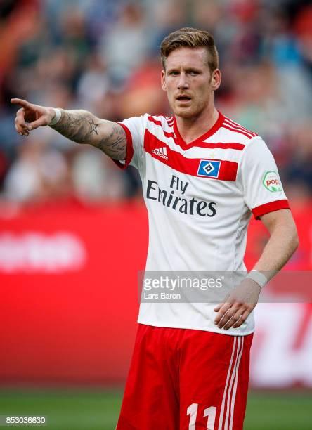 Andre Hahn of Hamburg gestures during the Bundesliga match between Bayer 04 Leverkusen and Hamburger SV at BayArena on September 24 2017 in...
