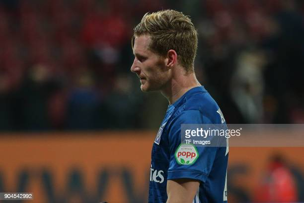 Andre Hahn of Hamburg looks dejected after the Bundesliga match between FC Augsburg and Hamburger SV at WWKArena on January 13 2018 in Augsburg...