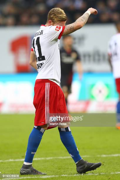 Andre Hahn of Hamburg looks dejected during the Bundesliga match between Hamburger SV and Bayer 04 Leverkusen at Volksparkstadion on February 17 2018...